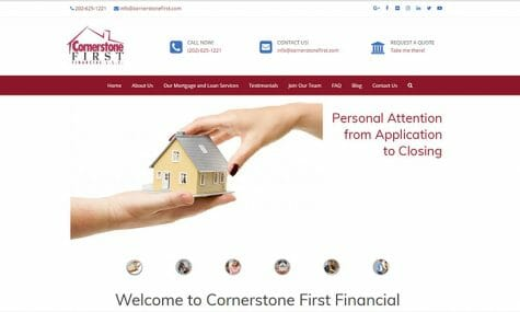 Cornerstone First Financial Mortgage Lender Broker Washington DC Virginia Maryland Florida Georgia Colorado home loan
