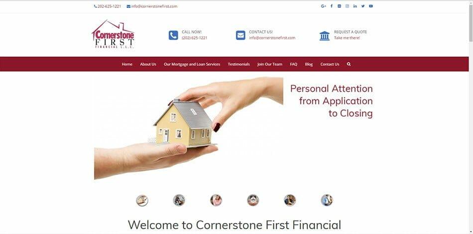 Cornerstone First Financial Mortgage Lender Broker Washington DC Virginia Maryland Florida Georgia Colorado home loan