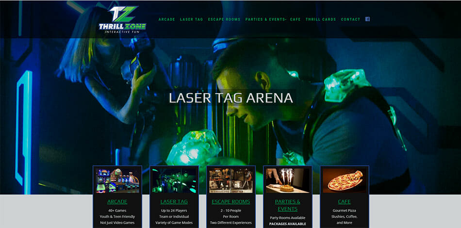 Thrill Zone Fun offers indoor sport and recreation experiences including arcade, laser tag, escape room, party, event, and cafe.